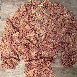 EUC Leopard Floral Wrap Top